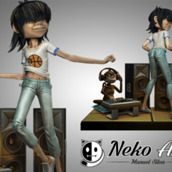 cgtrader.png Download STL file Noodle Gorillaz figure 3D print model • 3D printing template, neko_art_96