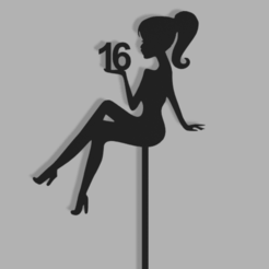 Girl Silhouette 16 v1.png Download STL file 16th Birthday Girl Silhouette Cake Topper • 3D printing template, dkn2610