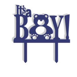 It's A Boy v0.png Download STL file It's A Boy! Cake Topper • 3D printable template, dkn2610