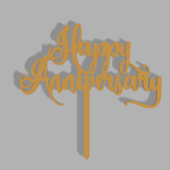 Happy Anniversary v1.png Download STL file Happy Anniversary Cake Topper • 3D printer design, dkn2610