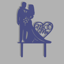 Download 3D print files Mr and Mrs Cake Topper, dkn2610