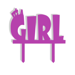 It's A Girl v0.png Download STL file It's A Girl! Cake Topper • 3D printable template, dkn2610