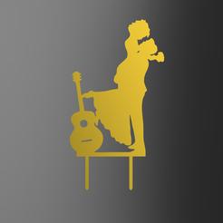 Guitar Couple v1.png Télécharger fichier STL Couple de mariés et garniture de gâteau à la guitare • Plan pour impression 3D, dkn2610