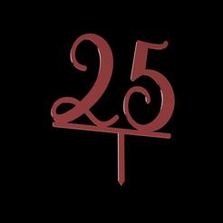 25 Numbered Cake Topper v1.png Télécharger fichier STL 25 Numéro de la garniture de gâteau • Objet à imprimer en 3D, dkn2610