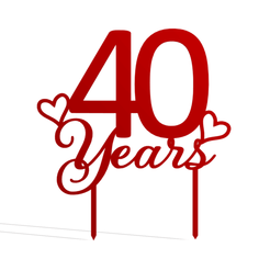 40 Years v1.png Télécharger fichier STL 40 ans de garniture de gâteau • Design pour impression 3D, dkn2610