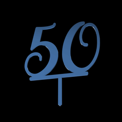 50 Number Cake Topper v1.png Télécharger fichier STL 50 Numéros de la garniture de gâteau • Modèle pour impression 3D, dkn2610
