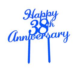 Happy 38th Anniversary.png Télécharger fichier STL Joyeux 38e anniversaire de la garniture de gâteau • Design imprimable en 3D, dkn2610