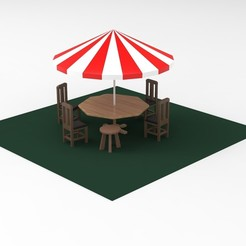 Download 3D printer model Beach umbrella and  seats, Hunterxhunter
