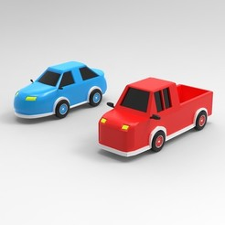 Download 3D printing designs Cars-pickup truck and race car, Hunterxhunter