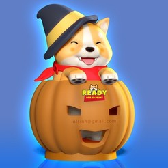 Shiba_Halloween3.jpg Download STL file Shiba - Halloween season • Model to 3D print, nlsinh