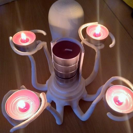Télécharger plan imprimante 3D gatuit Bougeoir pieuvre, Sceadugenga