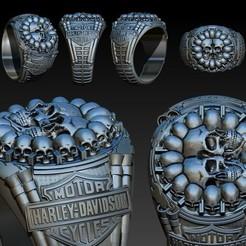r.jpg Télécharger fichier OBJ harley davidson ring • Objet pour imprimante 3D, EnkilRivera