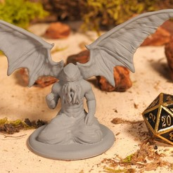 Download free STL file Winged Cthulhu - Tabletop Miniature, M3DM