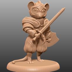Imprimir en 3D gratis Mouse Knight - Tabletop Miniatura, M3DM