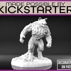 Werewolf_1-01.jpg Download free STL file Werewolf - Tabletop Miniature • 3D printable template, M3DM