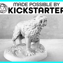 Saber_Tooth_Tiger_Action_Ad_Graphic-01-01.jpg Download free STL file Saber Tooth Tiger - Action Pose - Tabletop Miniature • Template to 3D print, M3DM