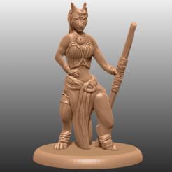 1.png Download free STL file Tabaxi - Tabletop Miniature • 3D printer template, M3DM
