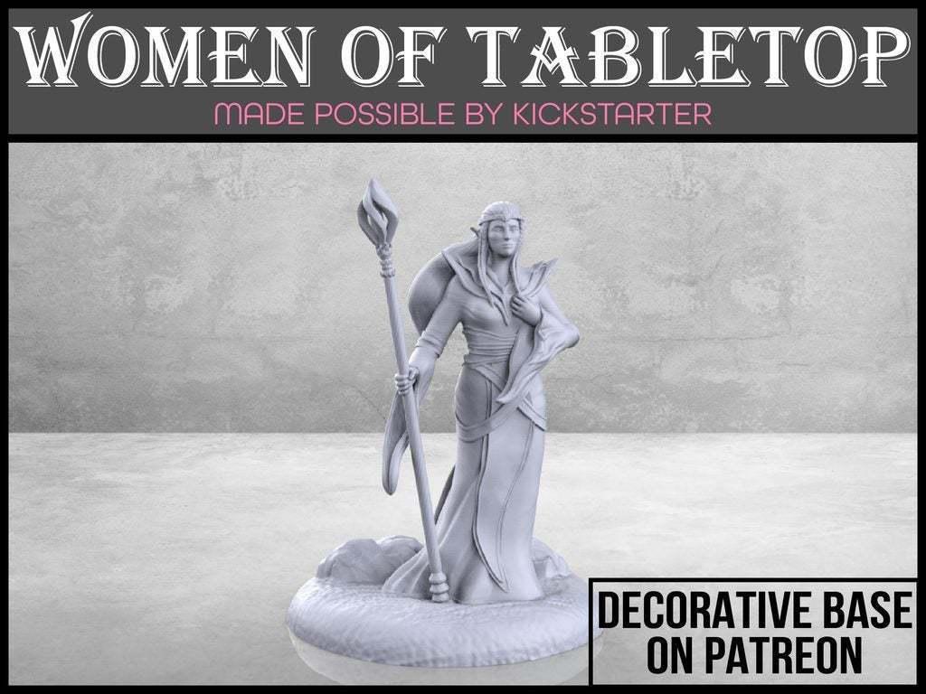 Elven_Sorceress_1-01.jpg Télécharger fichier STL gratuit Sorcière elfe - Miniature de table • Plan imprimable en 3D, M3DM