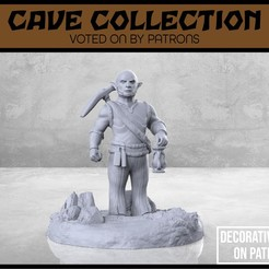 Cave_Gnome_Miner_1-V2-01.jpg Download free STL file Cave Gnome Miner - Version 2 - Tabletop Miniature • Object to 3D print, M3DM