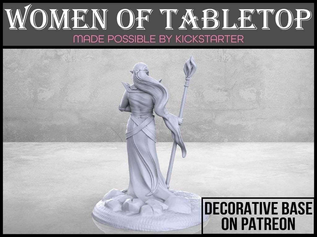 Elven_Sorceress_2-01.jpg Télécharger fichier STL gratuit Sorcière elfe - Miniature de table • Plan imprimable en 3D, M3DM