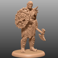 Download free 3D printing templates Orc Barbarian - Tabletop Miniature, M3DM