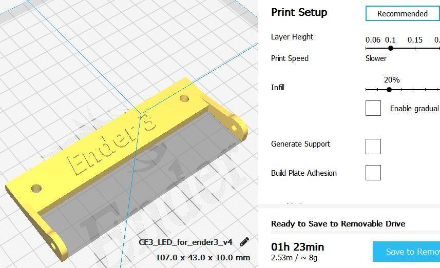 1-cura_v4.jpg Télécharger fichier STL gratuit Support de LED pour l'éclairage ENDER 3 • Plan pour imprimante 3D, georgek