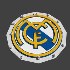 reloj escudo real madrid 3d.jpg Download STL file Real Madrid FC shield clock • 3D printable model, javherre