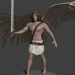 arcangel miguel espada alto.jpg Download STL file Archangel Michael with sword in the air • Object to 3D print, javherre