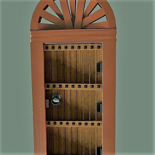 puerta antigua de madera con arco_large (2).jpg Descargar archivo STL gratis Puerta de madera antigua con arco • Modelo imprimible en 3D, javherre
