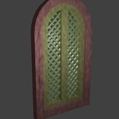 ventana celosia con arco.jpg Download free STL file WOODEN WINDOW WITH LATTICE • 3D printing model, javherre