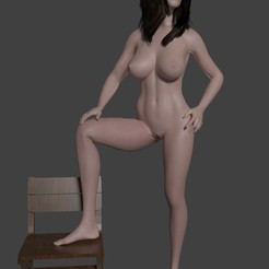 Download free STL files Naked girl with foot in chair, javherre