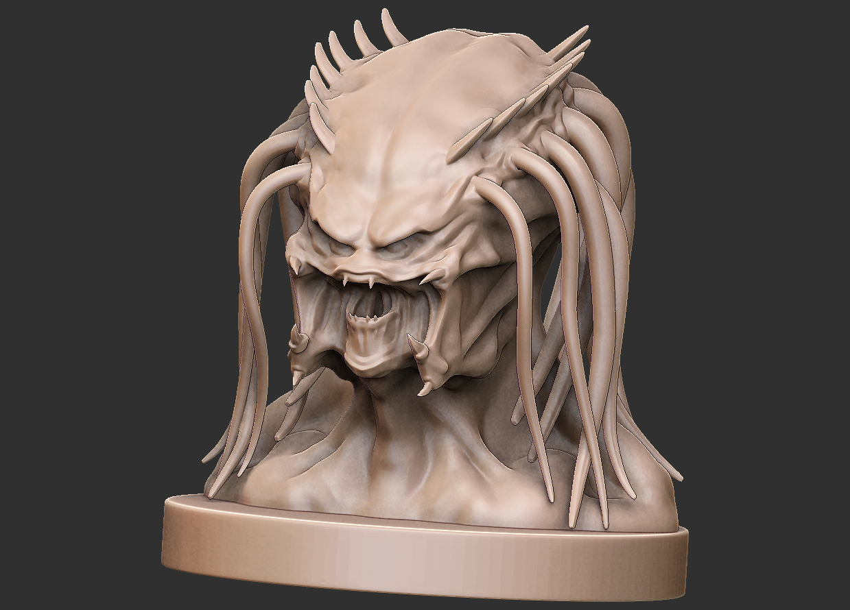 01.png Download free OBJ file Predator Bust • Object to 3D print, CarlCreates