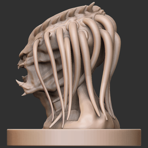02.png Download free OBJ file Predator Bust • Object to 3D print, CarlCreates