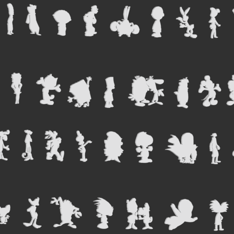Download 3D printing files Cartoon Silhouettes Pack, CarlCreates