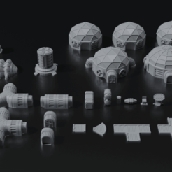 00.png Download STL file Planetbase Terrain Set • 3D printing template, CarlCreates