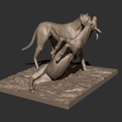 Download free STL files Cheetah and Gazelle scene, CarlCreates