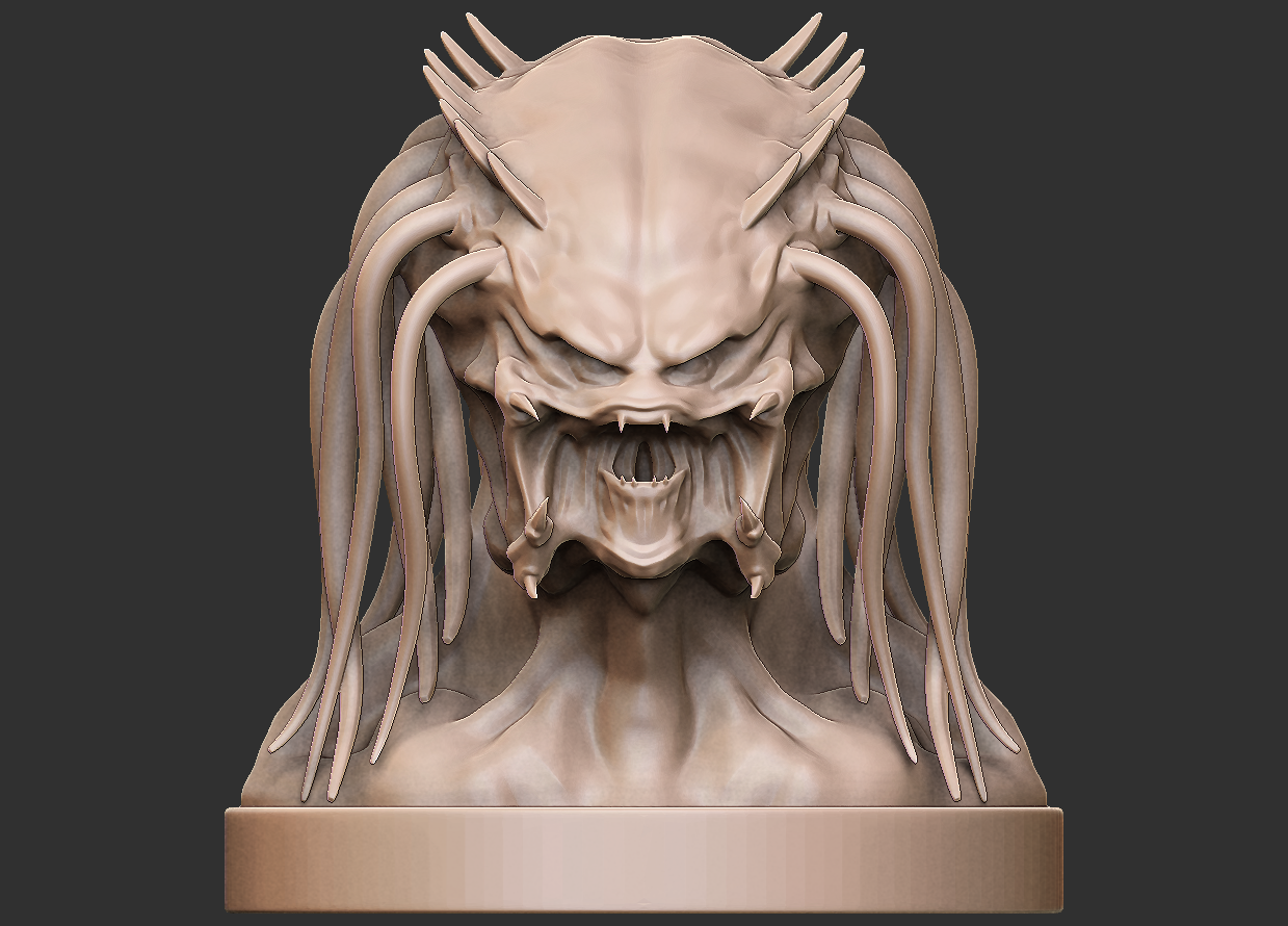 03.png Download free OBJ file Predator Bust • Object to 3D print, CarlCreates
