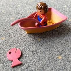 Descargar modelo 3D gratis Duplo compatible barco de pesca + caña + pez, Fuhake
