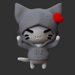 Download 3D printing designs hooded cat keychain, Awakeningmadarts