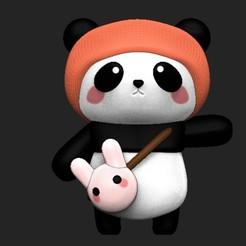 panda 1.jpg Télécharger fichier OBJ Panda avec sac de lapin • Design à imprimer en 3D, Awakeningmadarts