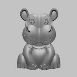 2.png Télécharger fichier STL  Hippopotamus, Hippopotame STL file • Objet imprimable en 3D, nounousky