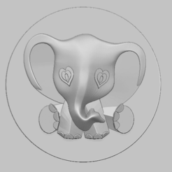 Download 3D printer files Elephant single relief 3D STL file, nounousky