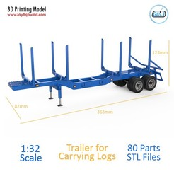 000.jpg Download STL file Trailer for Carrying Logs • 3D printing model, LaythJawad