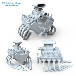 Download 3D printer designs Car Engine 8 Cylinders, LaythJawad