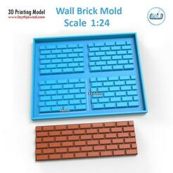 00.jpg Download STL file Wall Brick Mold Scale 1:24 • 3D printing template, LaythJawad