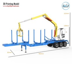 01.jpg Download STL file Trailer for Carrying Logs With crane • Object to 3D print, LaythJawad