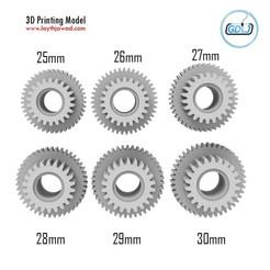 00.jpg Télécharger fichier STL Tamiya Gears 25-26-27-28-29-30mm • Modèle imprimable en 3D, LaythJawad