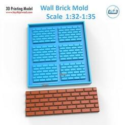 01.jpg Download STL file Wall Brick Mold Scale 1:35 - 1:32 • 3D printer template, LaythJawad