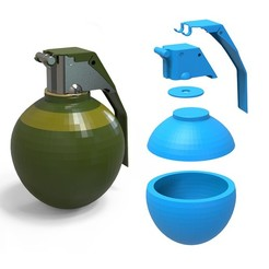 000.jpg Download 3DS file Grenade • Template to 3D print, LaythJawad