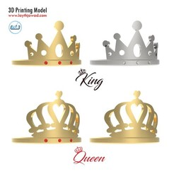 00.jpg Download 3DS file King - Queen Ring • Model to 3D print, LaythJawad